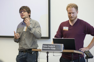 """Aleksander Husøy and Tobias Staaby talking about """"Zombies, wargames and slavery! Using computer games as a basis for ethical discussion"""""""